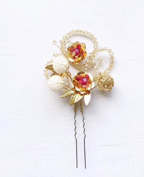 Peony Love and Fortune Oriental Wedding Hairpiece