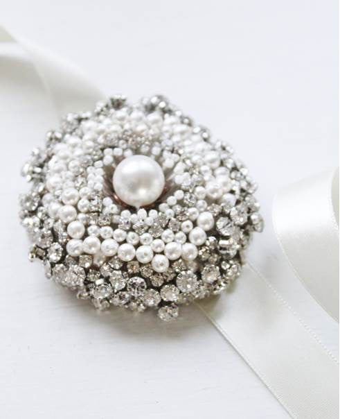 First Snow Pearls and Rhinestone Brooch