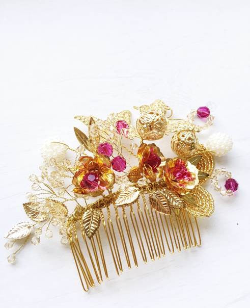 Butterfly Lovers Oriental Wedding Heirloom Hairpiece