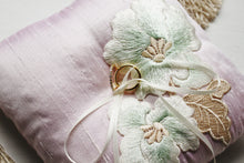 Vintage Beige Embroidered Flowers on Baby Pink Thai Silk Pillow