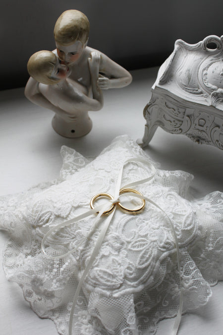 Edwardian Inspired Ring Pillow with Cotton Lace Trimmings