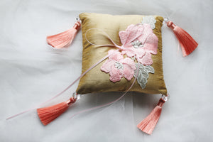 Salmon Pink Embroidered Flowers on Antique Gold Thai Silk Pillow