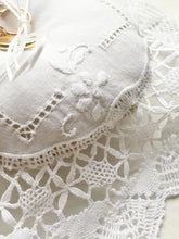 Bruges Whitework Lace Ring Pillow with Dried Lavender Filling