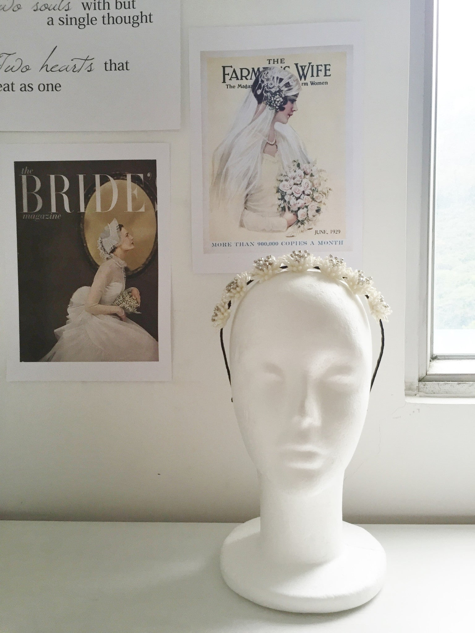 Antique Inspired Dahlia Pearl Beads and Rhinestones Bridal Headpiece