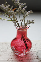 Antique glass perfume apothecary jar in red