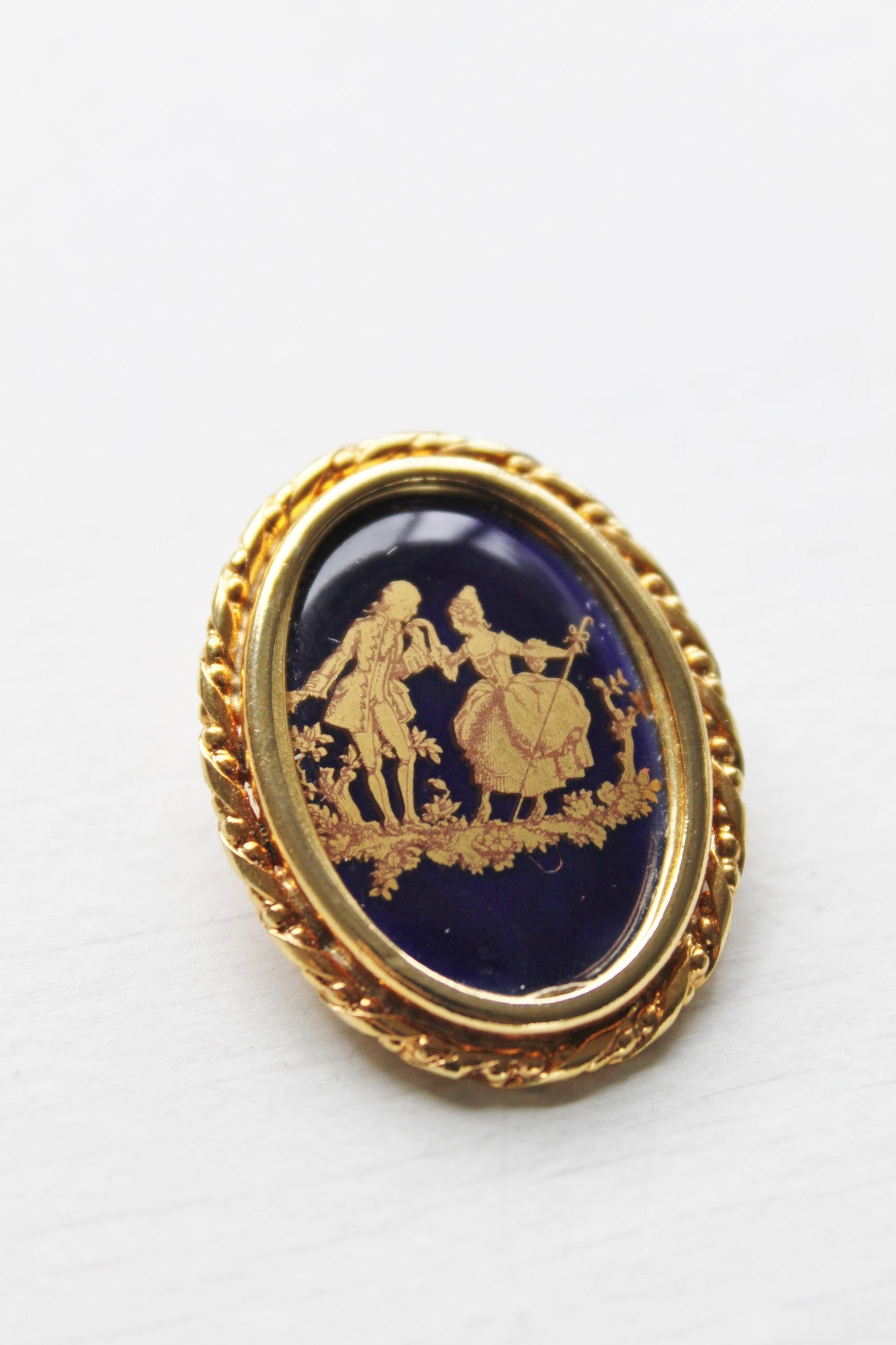 Takes Two to Love Limoges Porcelain Brooch