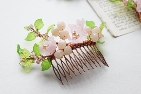 Freshwater pearl peony and berry hair slide