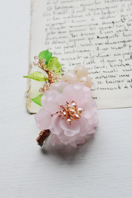 Freshwater pearl peony brooch with Swarovski crystals