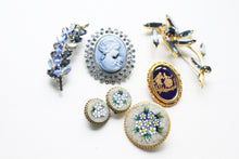 Vintage Blue Abstract Rhinestone Flower Brooch