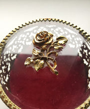 1950s Gilt Gold Ormolu Rose Trinket Box with Ring Pillow Insert