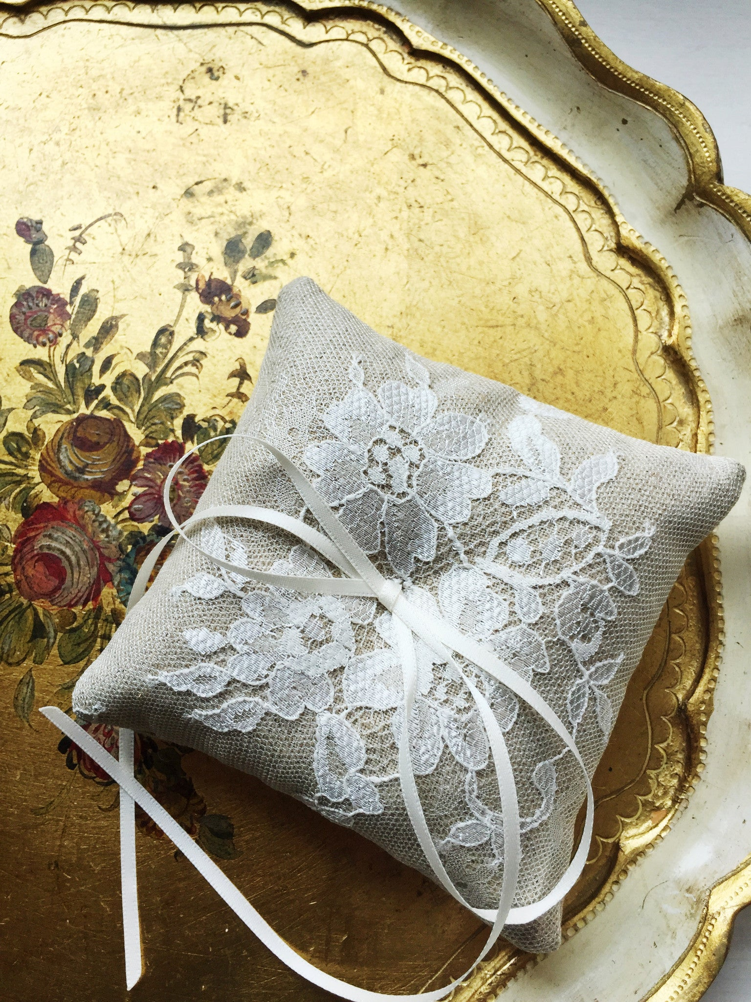 Shabby Chic Dainty Lace Ring Pillow in Oatmeal