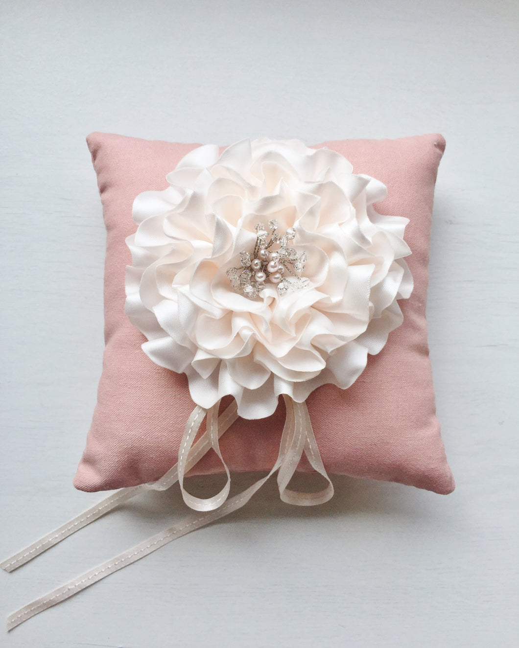 Signature Peony Ring Pillow in Vintage Pink
