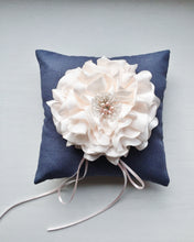 Signature Peony Ring Pillow in Antique Blue and Powder Pink Peony