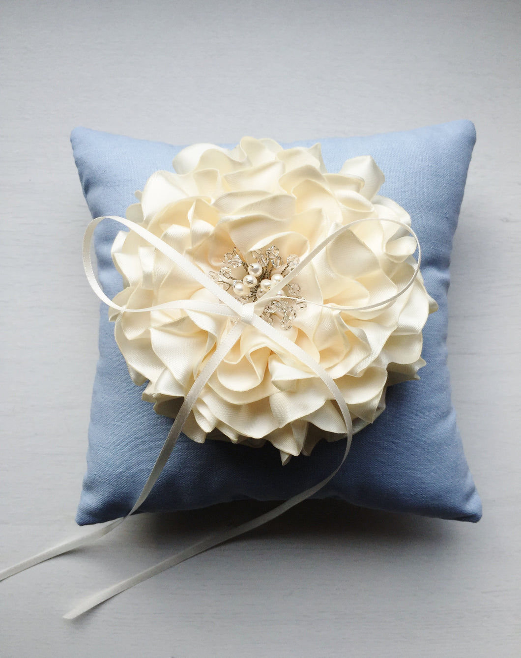 Signature Peony Ring Pillow in Vintage Sky Blue and Cream Peony
