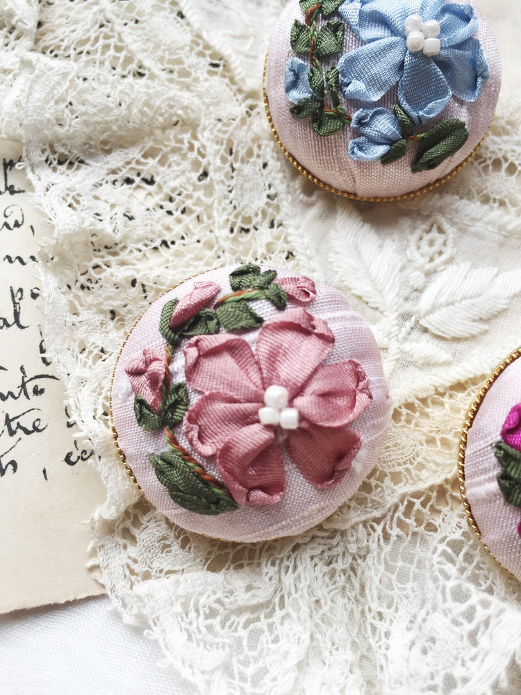Mother daughter silk ribbon embroidery button brooches in shades of soft pink