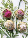 Mother daughter silk ribbon embroidery button brooches in pink and gold