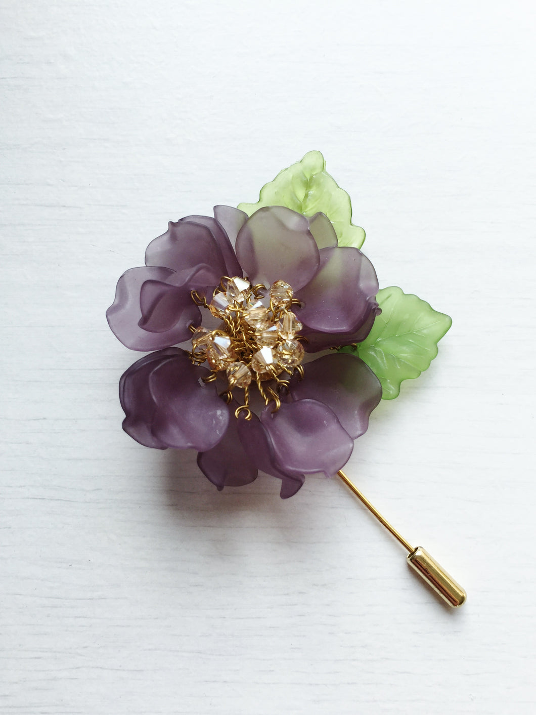 Peony Pin in Grey Frosted Petals and Ceylon Swarovski Crystals and Green Leaves