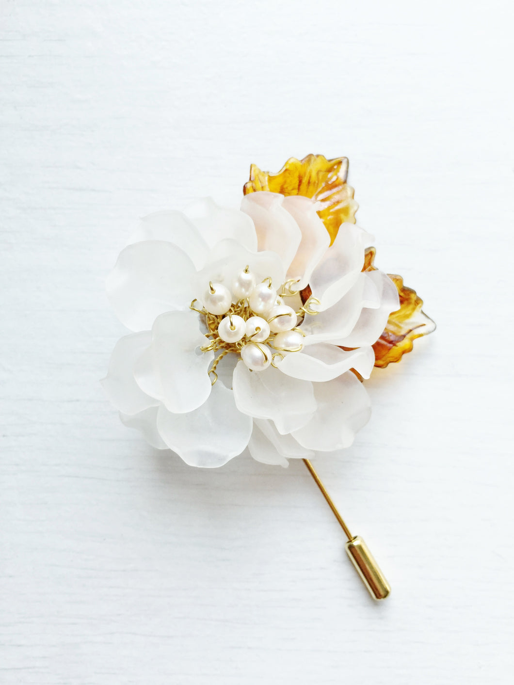 Peony Pin in White Frosted Petals and White Freshwater Pearls