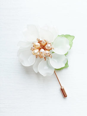 Peony Pin in White Frosted Petals and Peach Freshwater Pearls