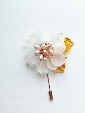 Peony Pin in White Frosted Petals and Pink Freshwater Pearls