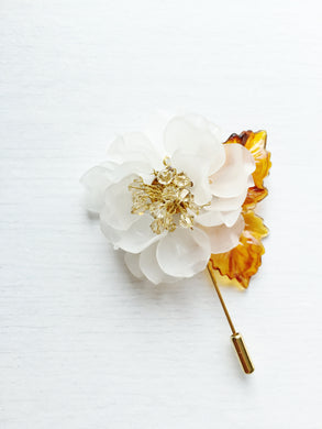 Peony Pin in White Frosted Petals and Ceylon Swarovski Crystals