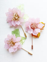 Peony Pin in Pink Milk Glass Petals and Ceylon Swarovski Crystals