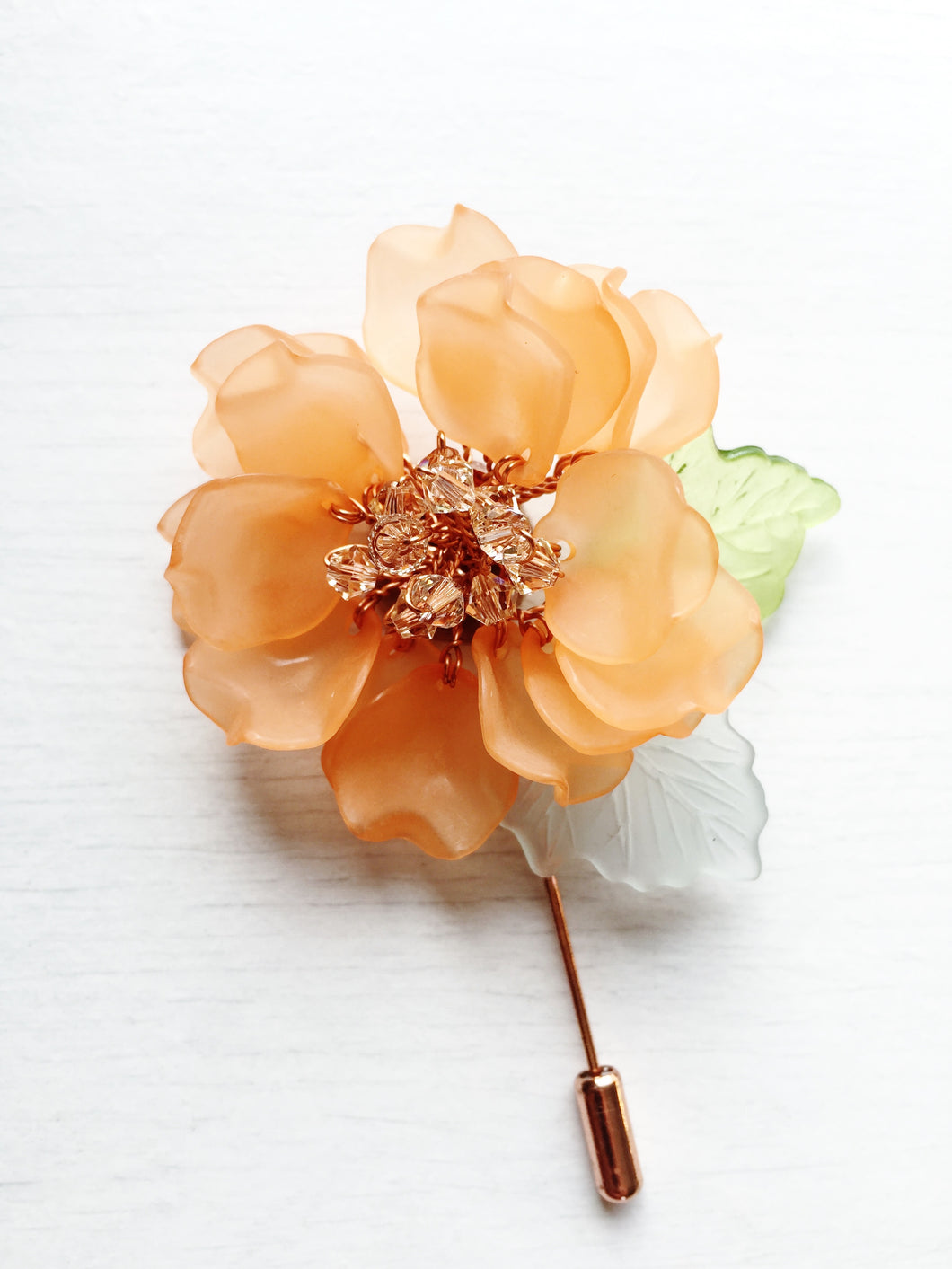 Peony Pin in Orange Frosted Petals and Silk Swarovski Crystals