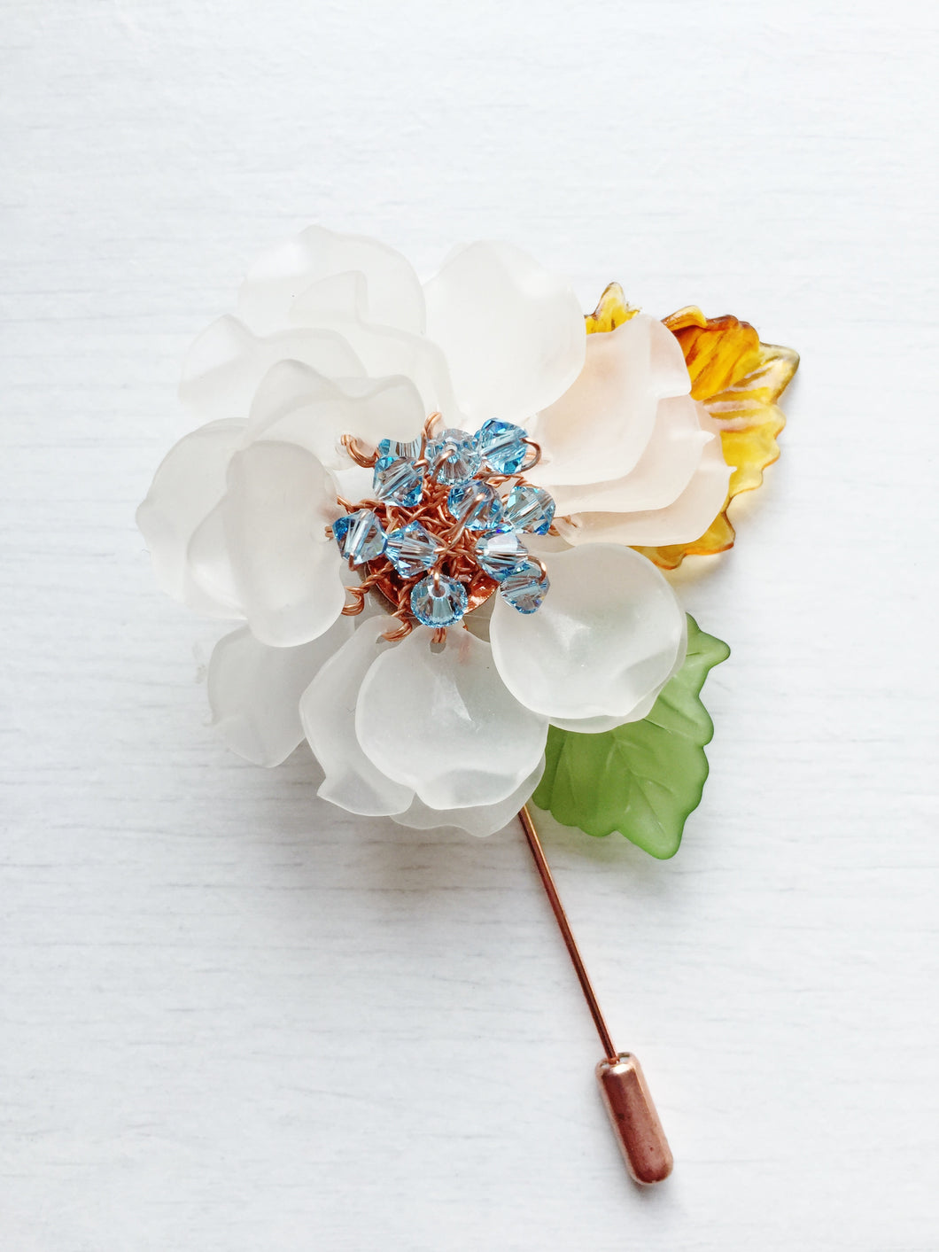 Peony Pin in White Frosted Petals and Blue Swarovski Crystals