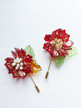 Peony Pin in Red and Gold Glass Petals and Ceylon Swarovski Crystals