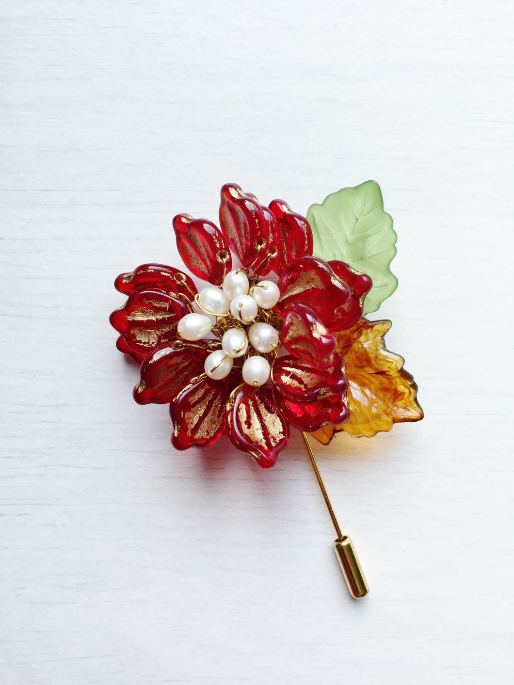 Peony Pin in Red and Gold Glass Petals and White Freshwater Pearls