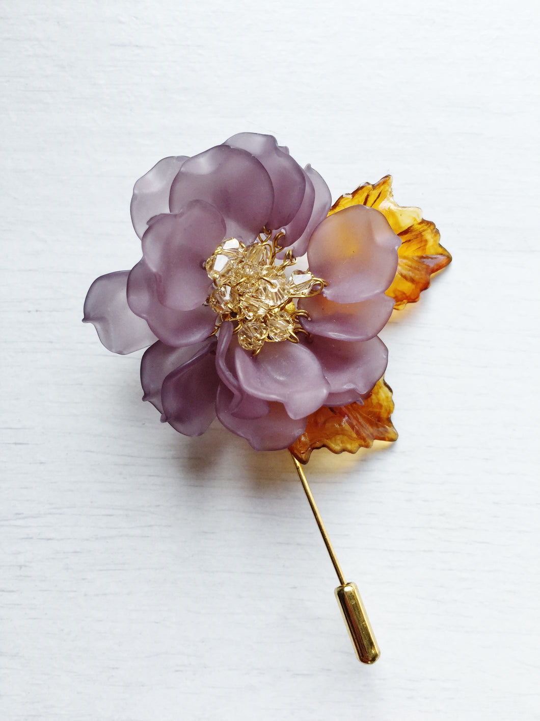 Peony Pin in Grey Frosted Petals and Ceylon Swarovski Crystals