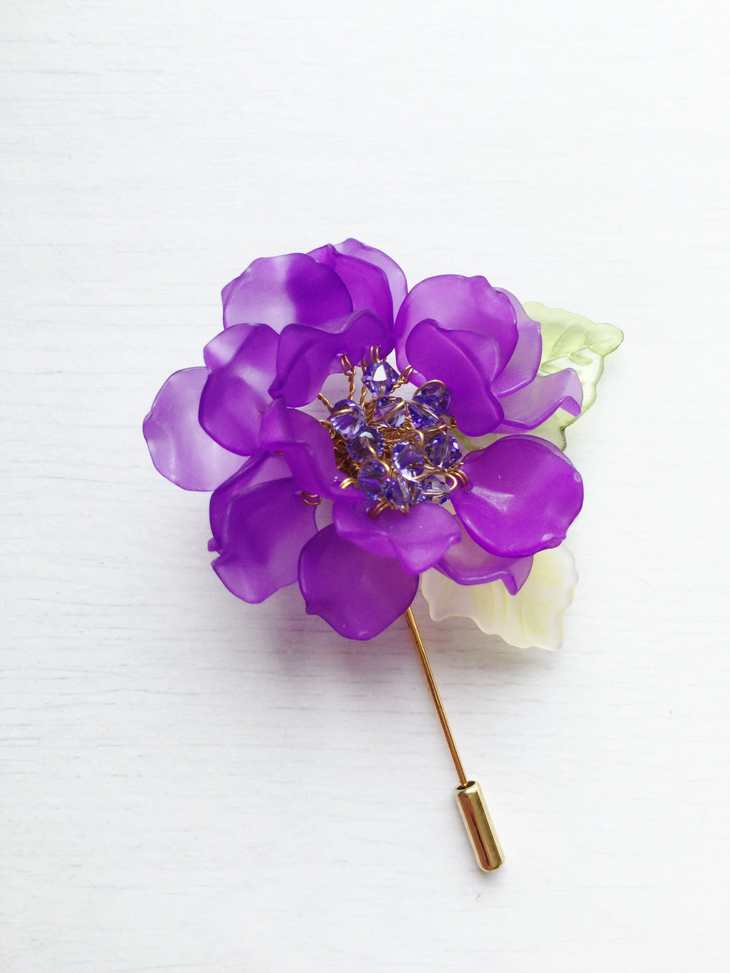 Peony Pin in Purple Frosted Petals and Tamzanite Swarovski Crystals