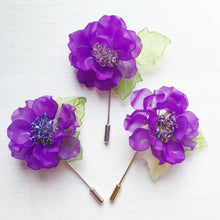 Peony Pin in Purple Frosted Petals and Violet Swarovski Crystals