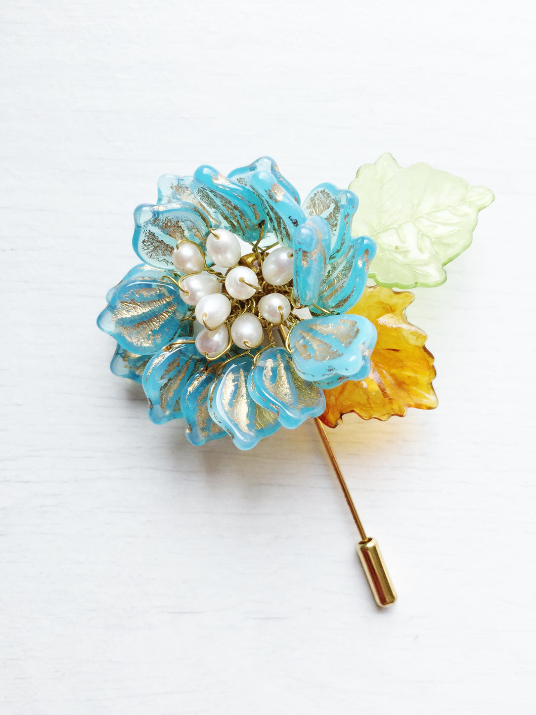Peony Pin in Turquoise and Gold Glass Petals and White Freshwater Pearls