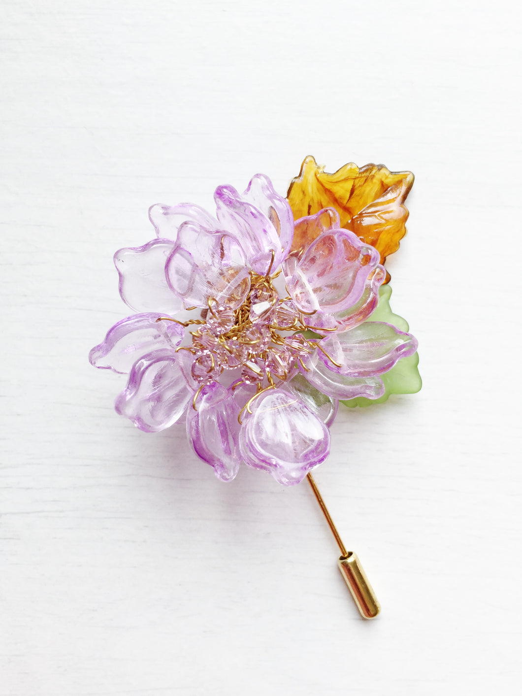 Peony Pin in Purple Glass Petals and Violet Swarovski Crystals