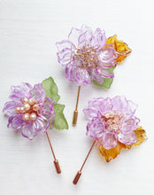 Peony Pin in Purple Glass Petals and Peach Freshwater Pearls