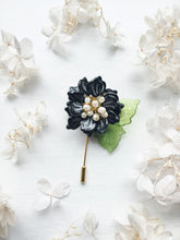 Peony Pin in Black and Silver Glass Petals and White Freshwater Pearls