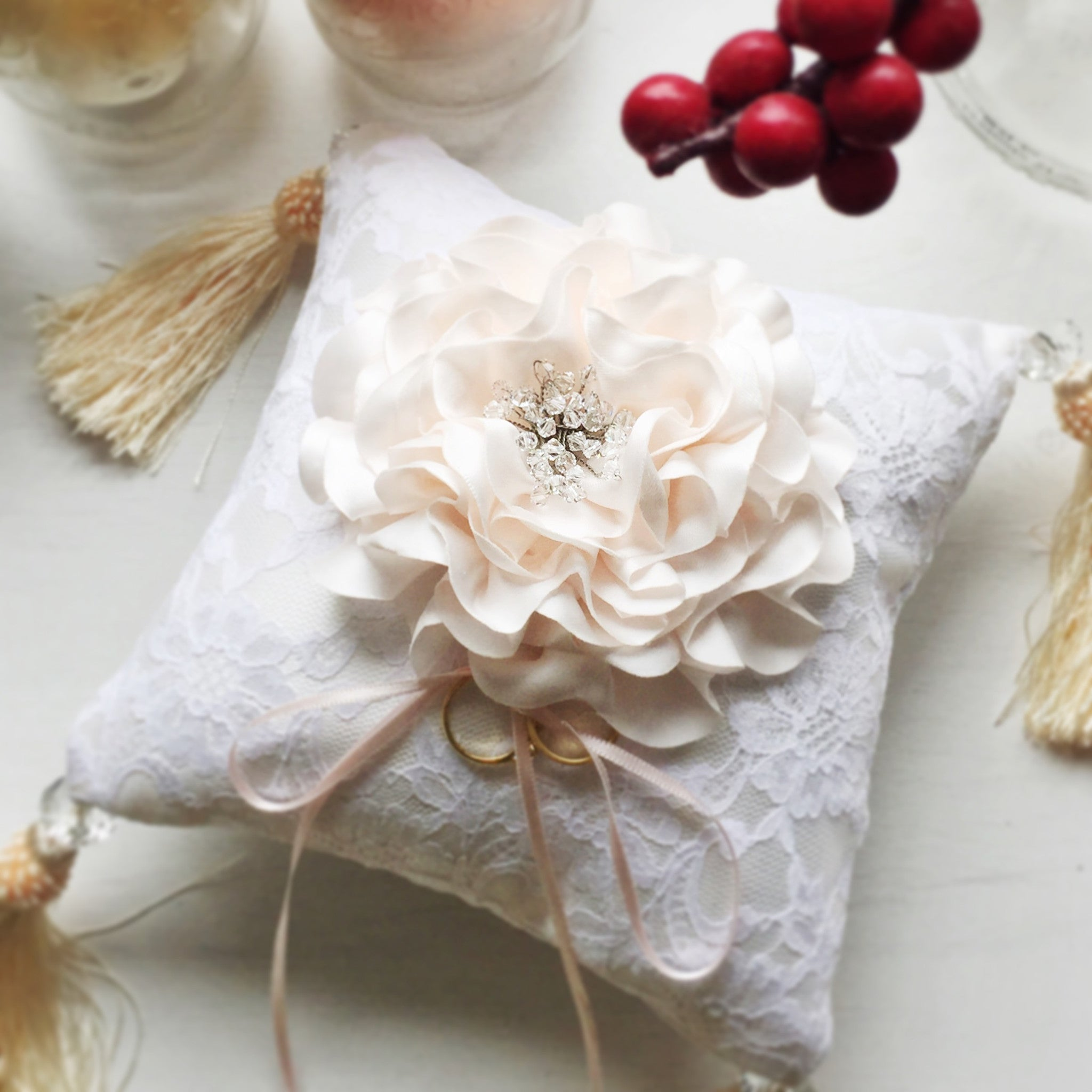 Signature Peony Ring Pillow/Cushion with Swarovski Elements