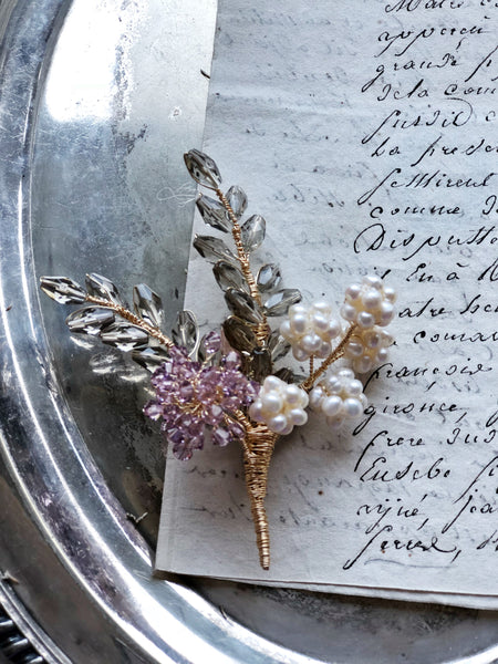 Wheat and hydrangea floral brooch in purle and gold