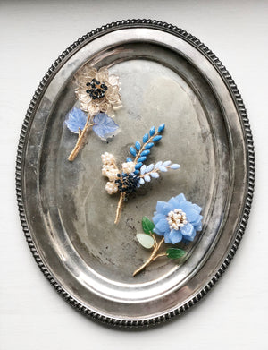 Peony stem brooch in blue