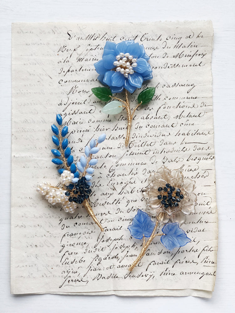 Wheat and hydrangea floral brooch in blue and gold
