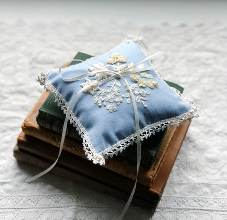 Edwardian embroidered floral ring pillow in porcelain blue