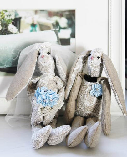 Lacey Bunnies Getting Married Handmade Heirloom Dolls