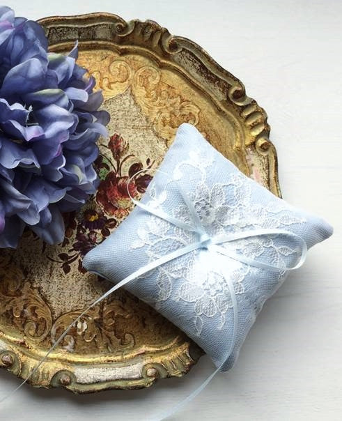 Shabby Chic Dainty Lace Ring Pillow in Vintage Blue
