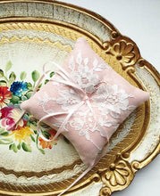 Shabby Chic Dainty Lace Ring Pillow in Vintage Pink
