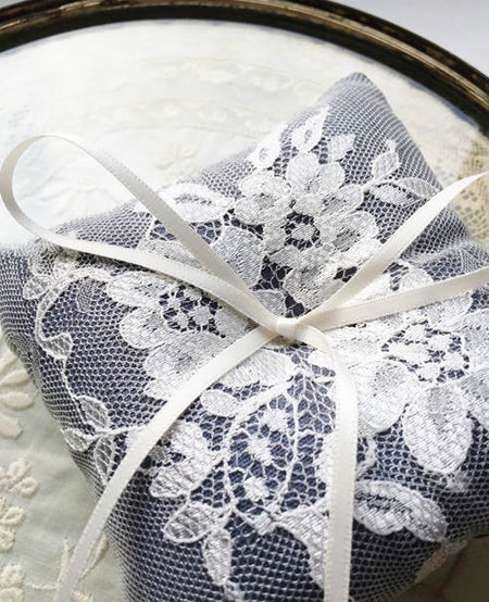 Shabby Chic Dainty Lace Ring Pillow in Slate Blue