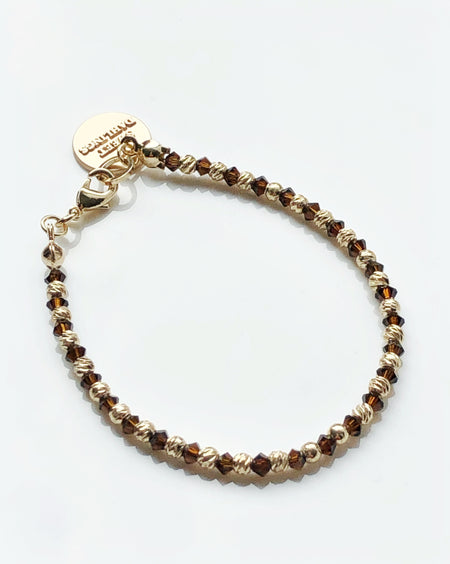 Swarovski crystals 14K gold plated beads bracelet in mocca and gold