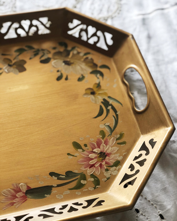 Vintage mid-century hand painted metal floral tray