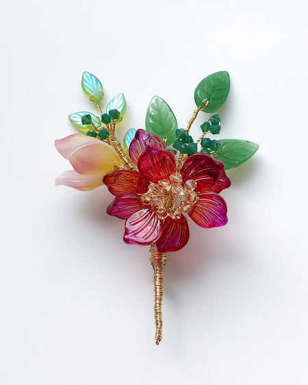 """Thank You"" mini bouquet baby peony and baby lily brooch"