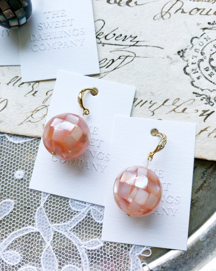 Seashell mosaic bubbles glass beads earrings in bubble gum pink hook style